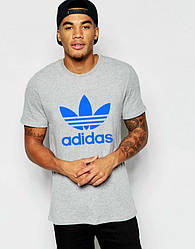 Мужская футболка Adidas, спортивная футболка Адидас, хлопок, серая