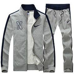 Спортивный костюм Найк, мужской костюм Nike, серый на молнии, трикотажный