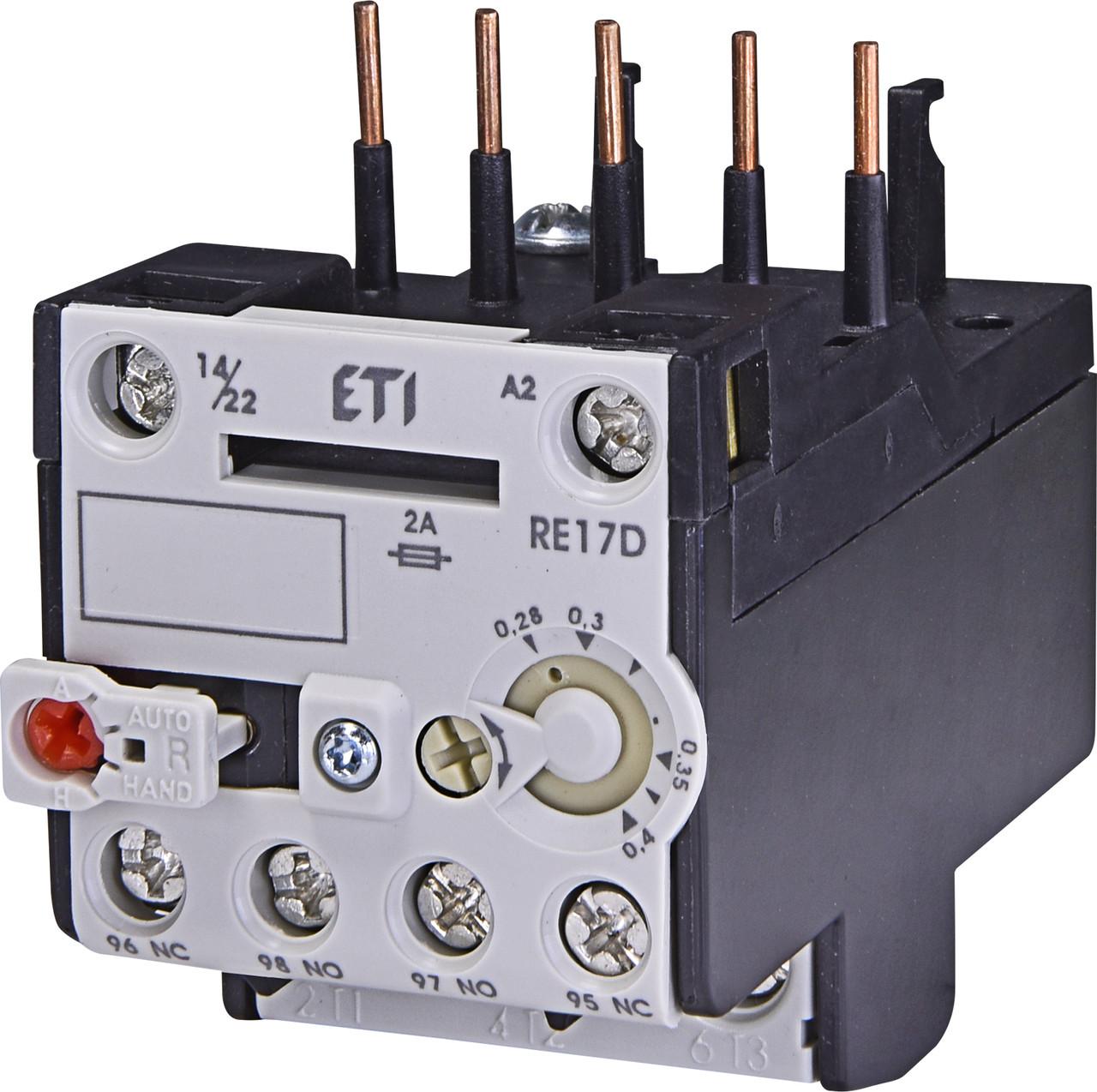 Тепловое реле ETI RE 17D-0,4 (0,28-0,4A) CE07/CEC 4641400 (для контакторов)