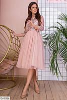 Расклешенное нарядное вечернее платье с ажурным кружевом арт 741