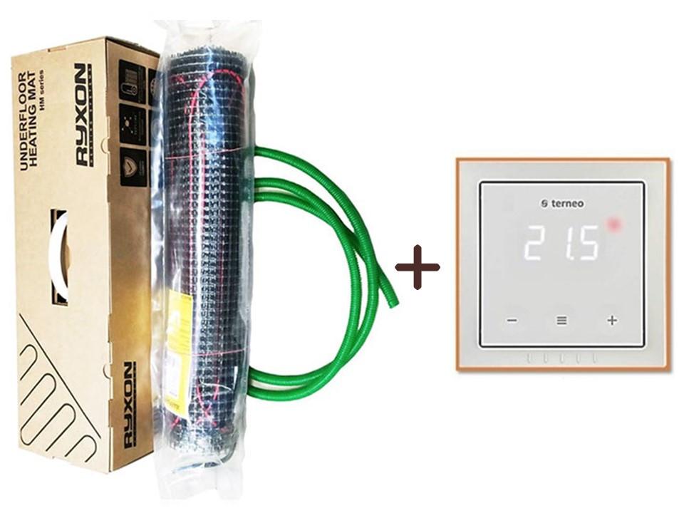 Тонкий мат может монтироваться в стяжку или под плитку  Ryxon HM-200 (1.5 м.кв) 300 вт Серия Terneo-S