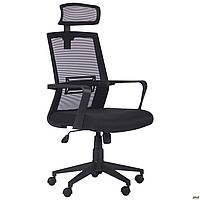 Офисное кресло AMF Neon HR черное сетка спинка с подголовником