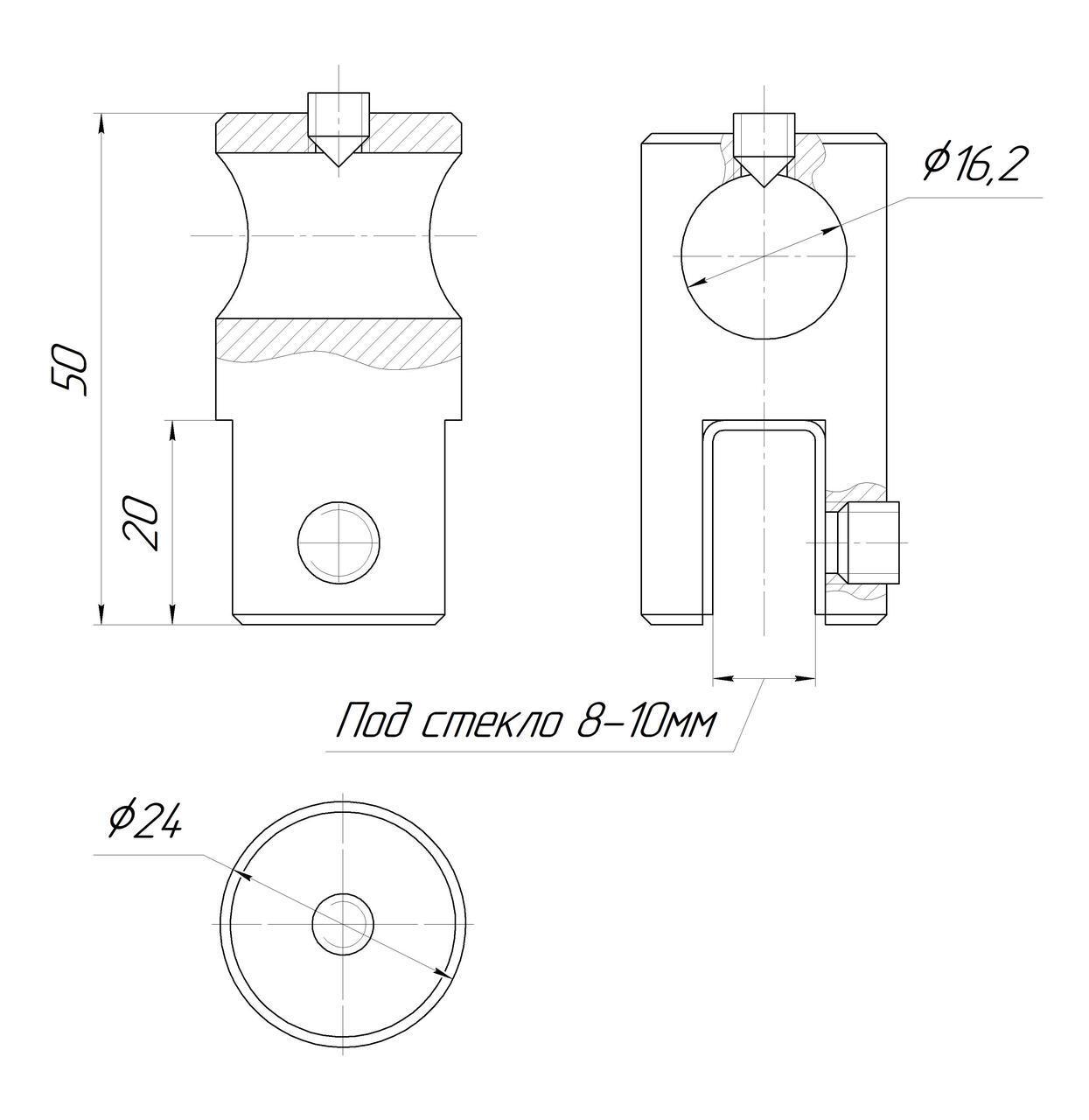 ODF-09-16-02 Крепление штанги 16 мм к стеклу накидное, продольное, сквозное, полированное