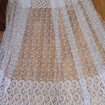 Тюль с вышивкой на фатине белая в зал