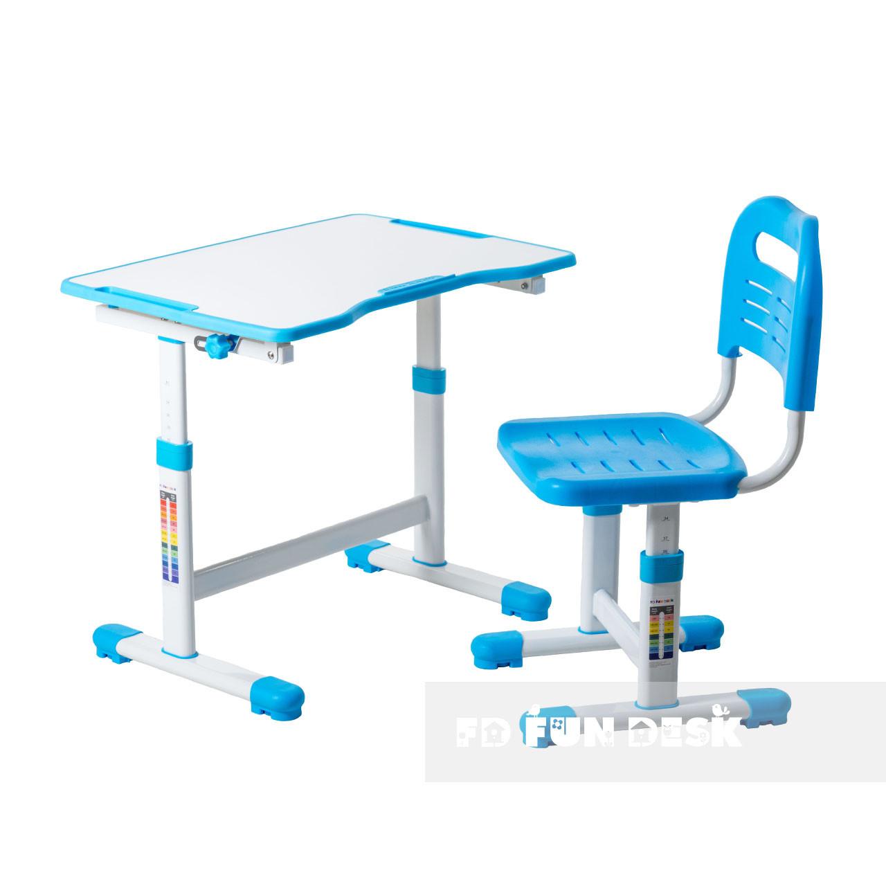 Комплект парта и стул-трансформеры FunDesk Sole II Blue - ОПТОМ ДЛЯ ШКОЛ
