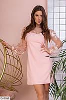 Красивое праздничное нежное платье с прозрачными рукавами арт 727