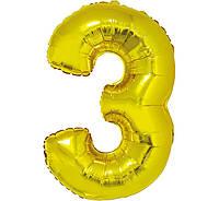 """Фольгована кулька цифра Gold """"3"""" золото 40"""" 85см PL Godan"""