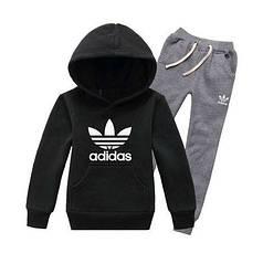 Спортивний костюм Адідас, чоловічий костюм Adidas, чорна кофта кенгуру, сірі штани, трикотажний