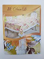 Скатертина на стіл вінілова з ажурною каймою 150х207см, фото 1