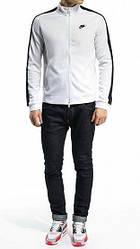Спортивный костюм Найк, мужской костюм Nike, белая кофта, черные штаны, трикотажный