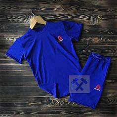 Мужской комплект, костюм футболка и шорты Reebok синий
