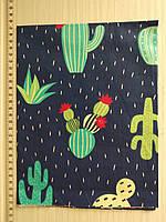 Отрез для рукоделия Кактусы на синем фоне - 40*50 см