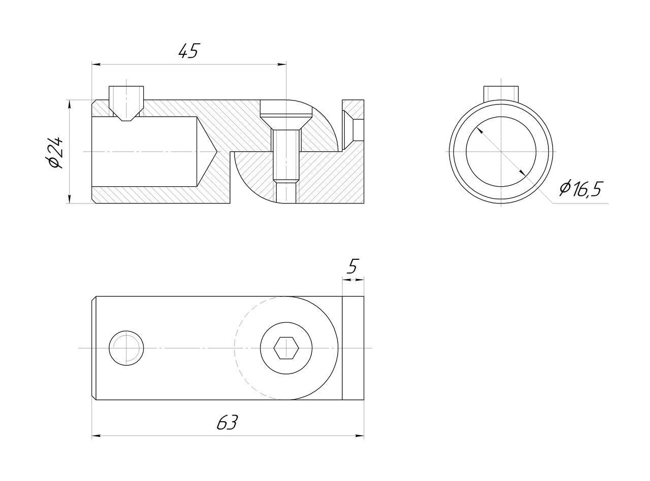 ODF-09-18-01 Крепление штанги 16 мм к стене поворотное, регулируемое, сатин