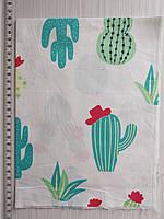 Отрез для рукоделия Мятные кактусы на белом фоне - 40*50 см