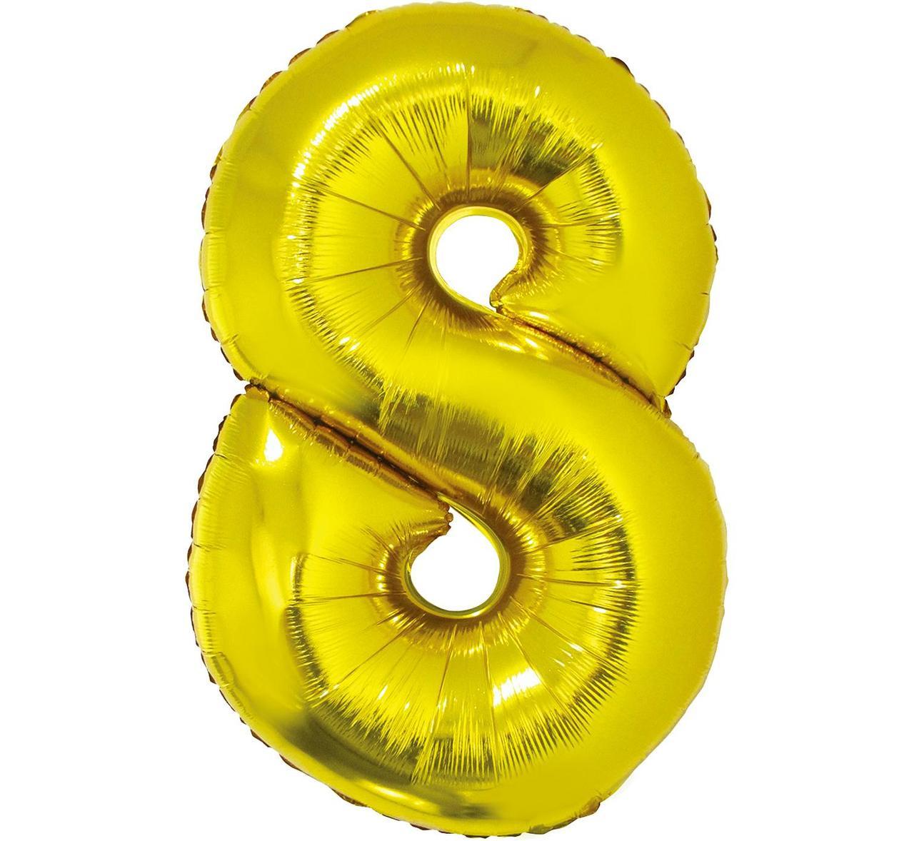 """Фольгована кулька цифра Gold """"8"""" золото 40""""  PL Godan упаковка"""