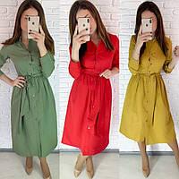 Платье халат женское, повседневное, на пуговицах, длинный рукав, стильное, модное, с поясом, до 52 р