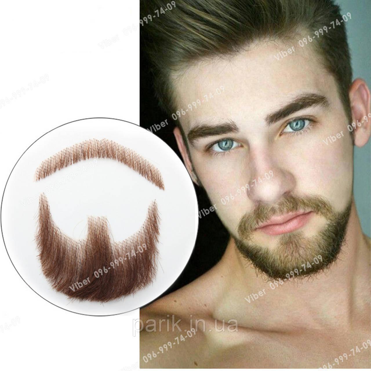 🧔Борода и усы реалистичные — накладка на сетке коричневого цвета
