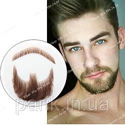 🧔 Борода и усы реалистичные — накладка на сетке коричневого цвета