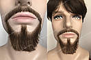 🧔 Борода и усы реалистичные — накладка на сетке коричневого цвета, фото 2