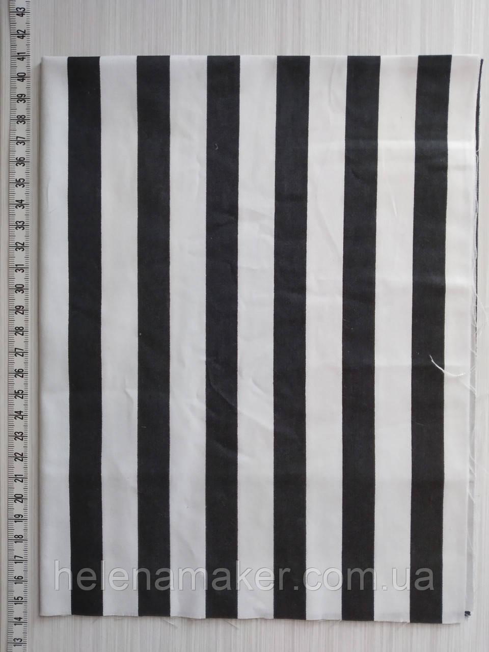 Отрез для рукоделия Черные и белые полоски 15  мм - 40*50 см