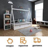 Кровать деревянная для детей домик Моана с ящиками