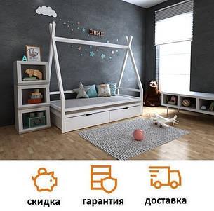 Кровать деревянная для детей домик Моана с ящиками, фото 2