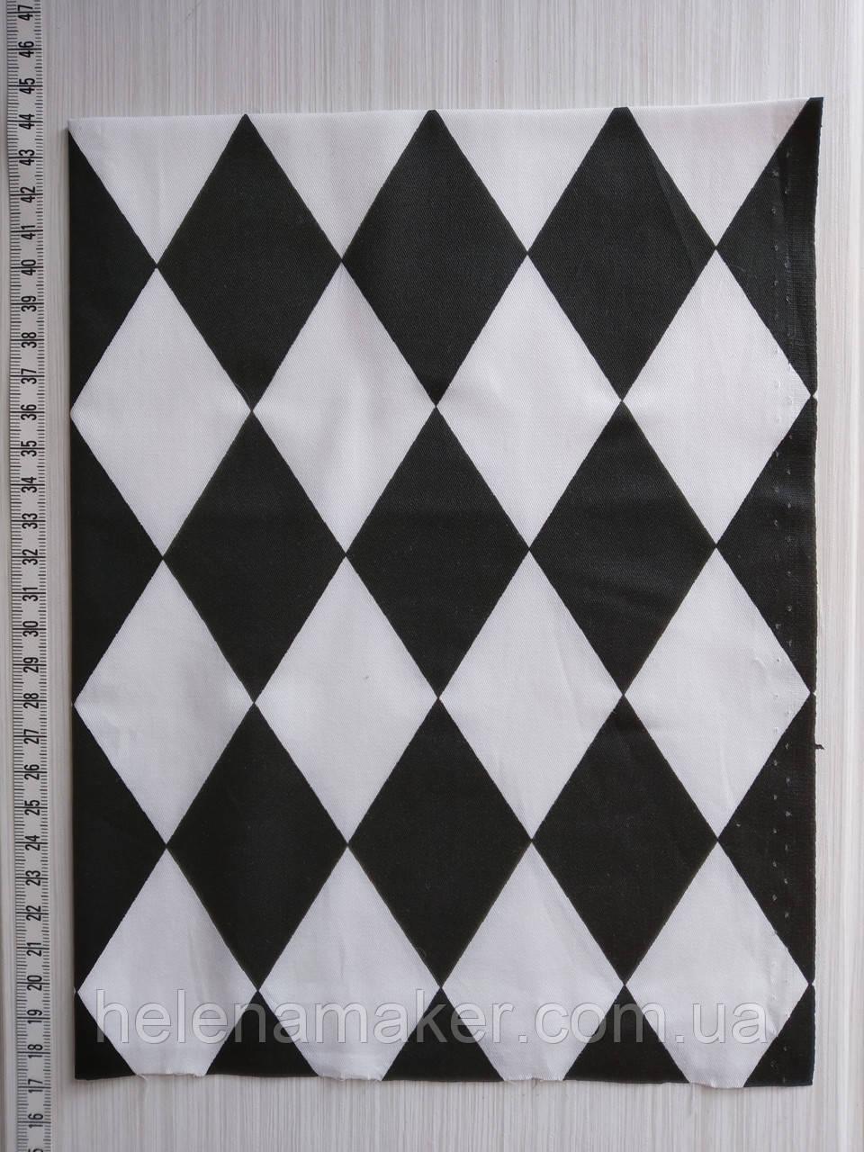 Отрез для рукоделия Черные и белые ромбы  - 40*50 см