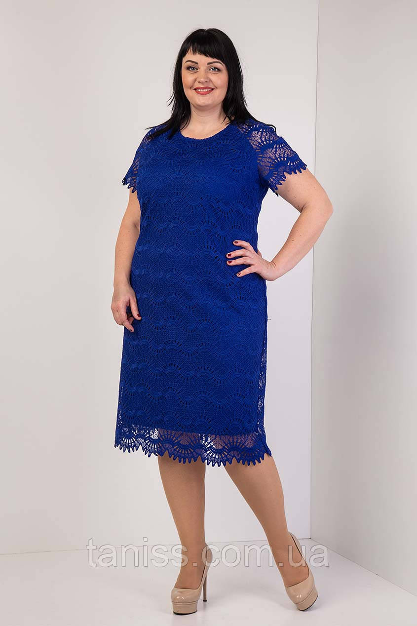 """Женское, праздничное платье """" Мерил"""", ткань кружево-макраме ,трикотаж, р. 58  электрик ,сукня"""