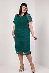 """Женское, праздничное платье """" Мерил"""", ткань кружево-макраме ,трикотаж, р. 54,56,58,60 зеленый ,сукня"""