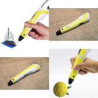 3D ручка для рисования с экраном MyRiwell с LCD дисплеем Желтая