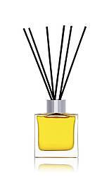 Флакон квадратный для аромадиффузора 50 мл ПРОЗРАЧНЫЙ в комплекте черные палочки 6 шт