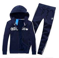 Спортивний костюм Адідас, чоловічий костюм Adidas, темно-синій костюм з капюшоном, з лампасами, трикотажний