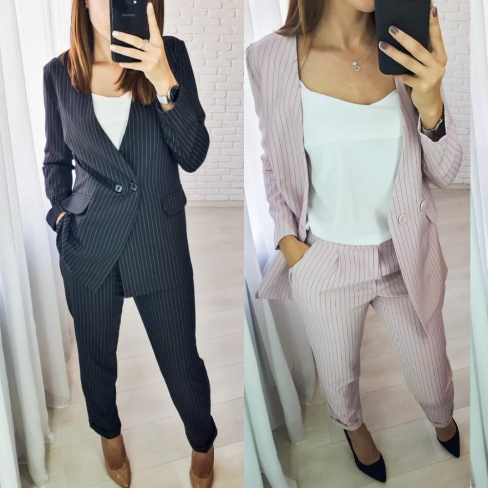 Костюм брючный женский, в полоску, повседневный, стильный, офисный, модный, пиджак и зауженные брючки, до 52 р