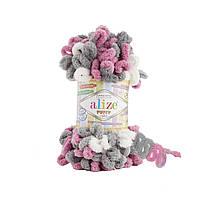 Турецкая пряжа для вязания Alize Puffy Color (пуффи колор) пряжа вяжется руками 6070
