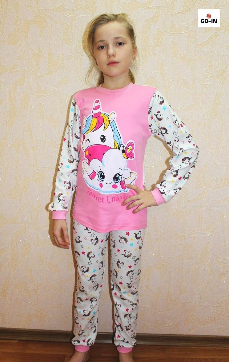 Дитяча піжама для дівчинки єдиноріг інтерлок рожева 30-40 р.