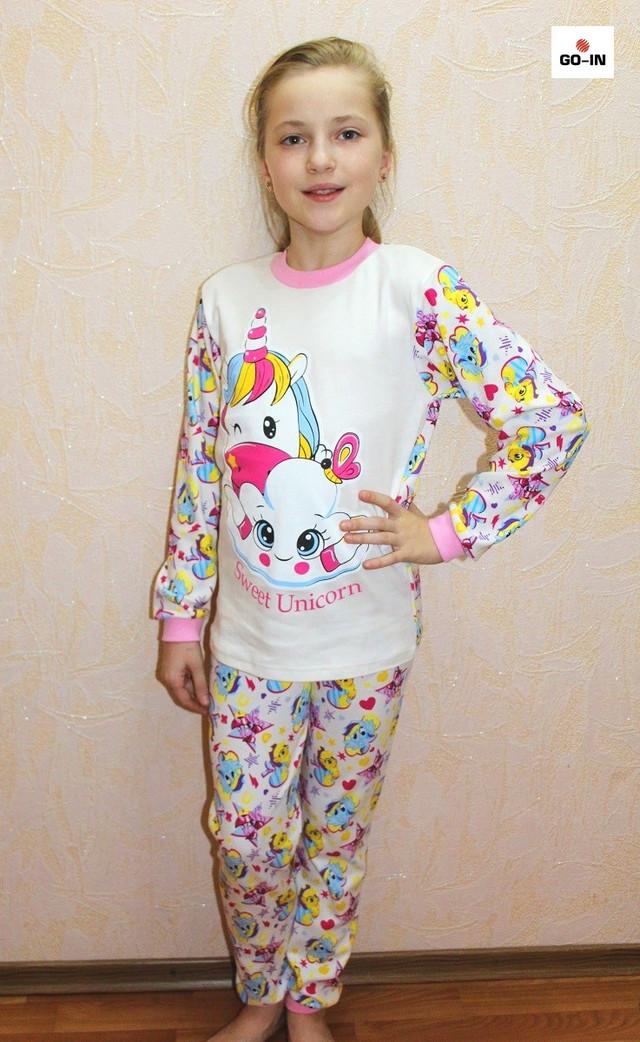 Детская пижама для девочки Единорог интерлок розовая 30-40 р.
