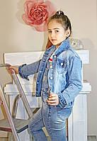 Куртка на девочку джинсовая с капюшоном
