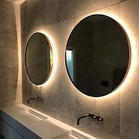 Круглое зеркало в раме с лед подсветкой
