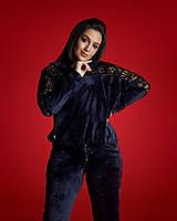 Женский велюровый спортивный костюм с перфорацией, размеры 48-50, 52-54, 56, 58, 60, 62