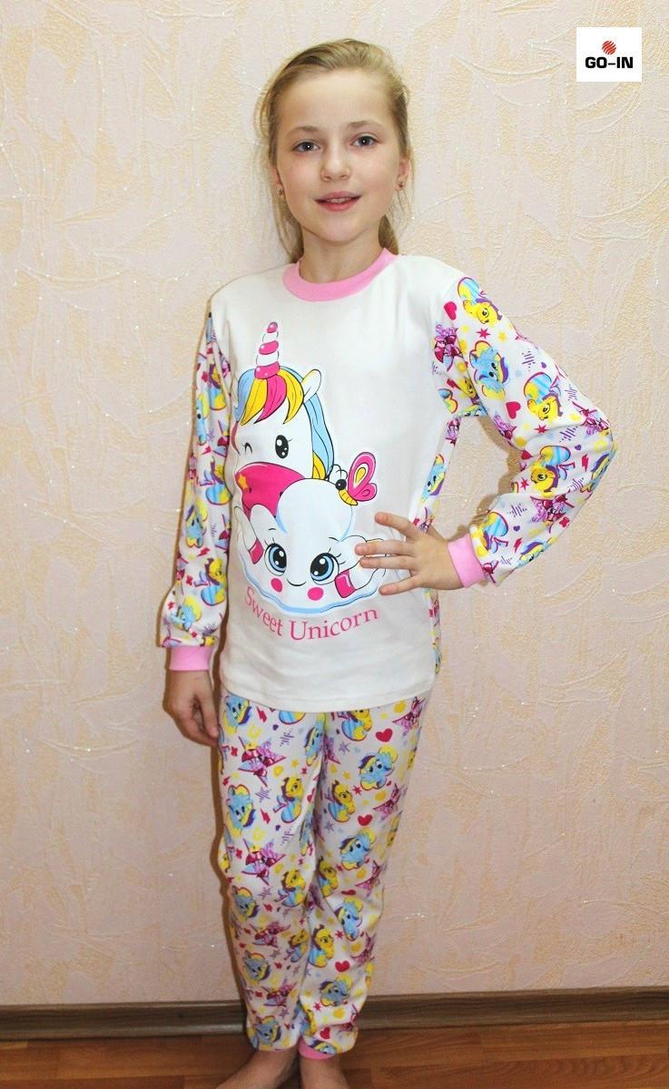 Детская пижама единорог для девочки молоко интерлок 30-40 р.