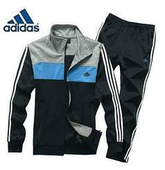 Спортивний костюм Адідас, чоловічий костюм Adidas, чорна кофта верхи, чорні штани з лампасами, трикотажний