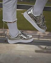 """Кроссовки Nike Air Force """"Liquid Metal"""" Silver Женские, Кожа лаковая / жіночі кроссівки , серебряные, металлик, фото 3"""