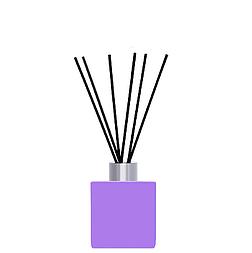 Флакон квадратный для аромадиффузора 50 мл ФИОЛЕТОВЫЙ в комплекте черные палочки 6 шт