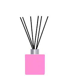 Флакон квадратный для аромадиффузора 50 мл РОЗОВЫЙ в комплекте черные палочки 6 шт