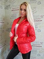 Женская стеганная куртка-пиджак красная