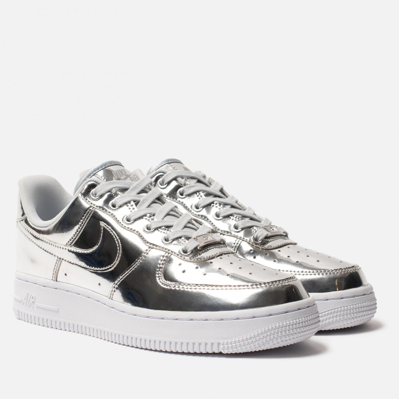 """Кроссовки Nike Air Force """"Liquid Metal"""" Silver Женские, Кожа лаковая / жіночі кроссівки , серебряные, металлик"""