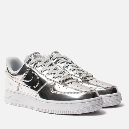 """Кроссовки Nike Air Force """"Liquid Metal"""" Silver Женские, Кожа лаковая / жіночі кроссівки , серебряные, металлик, фото 2"""