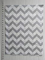 Отрез хлопковой ткани для рукоделия Серый и белый зиг-заг  - 40*50 см, фото 1