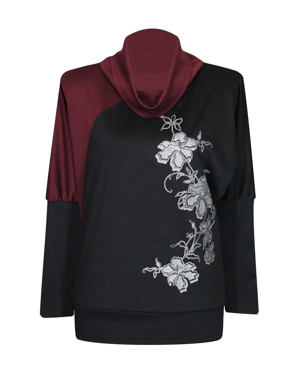 Бордовая комбинированная женская кофта больших размеров