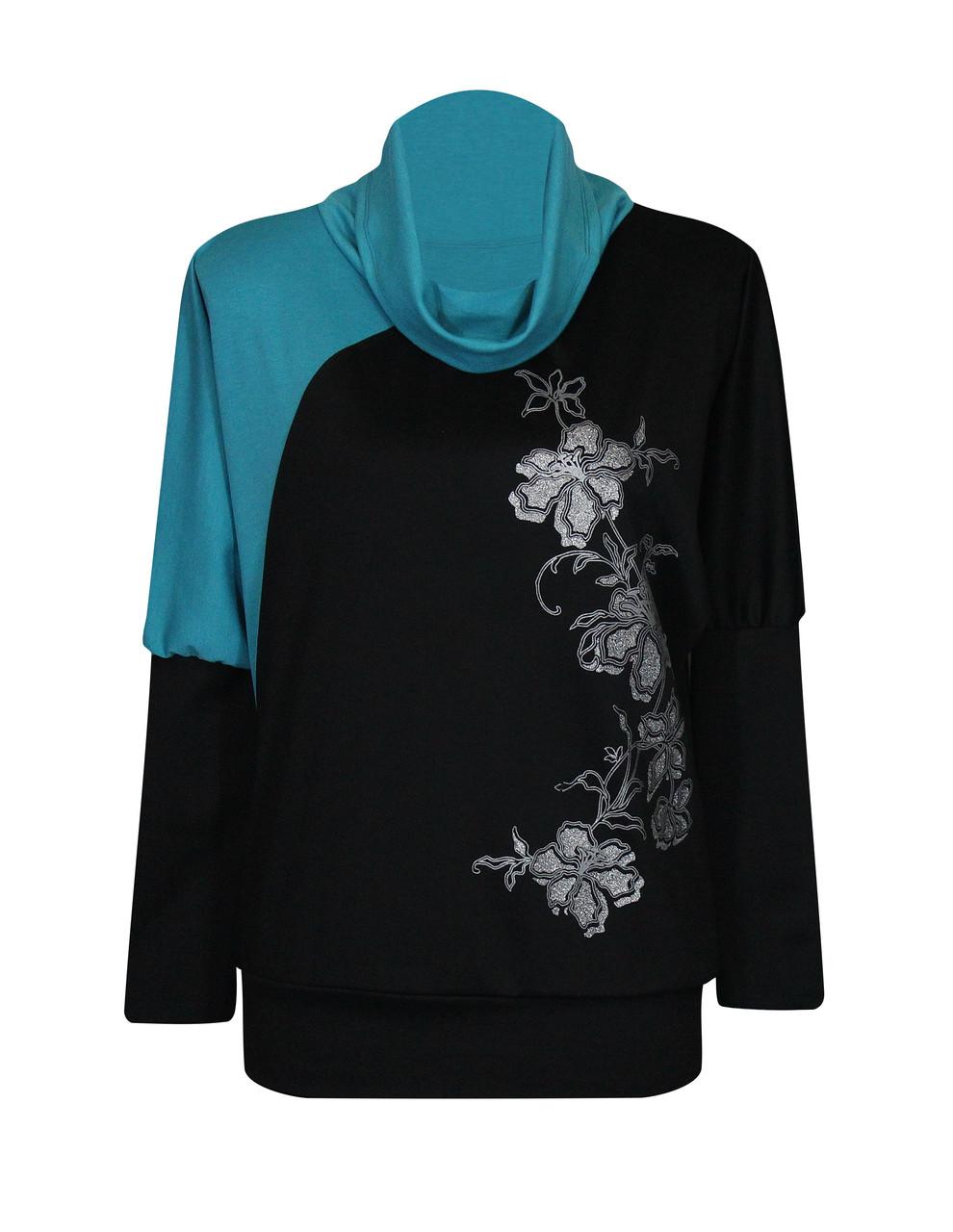 Цельнокроеная женская кофта для полных со вставкой цвета морской волны